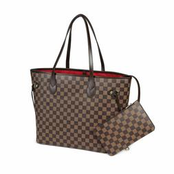Daisy Rose Checkered Tote Shoulder Bag with inner pouch PU V