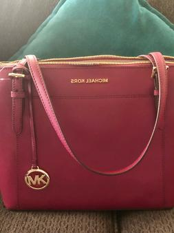 Michael Kors Ciara Large Top Zip Saffiano Leather Satchel Cr