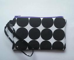 CLEARANCE***black/white polka dots purple zipper and lining