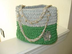 CLEARANCE! - Green and Gray hand crocheted purse/tote with g