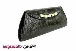 CLEARANCE SALE Black Lizard Leather Women Designer Party Clu