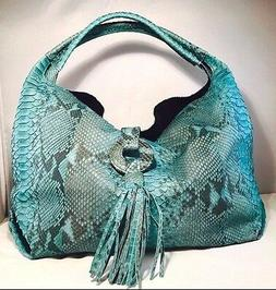 CLEARANCE SALE Handmade Blue Python Snake Leather Women Desi