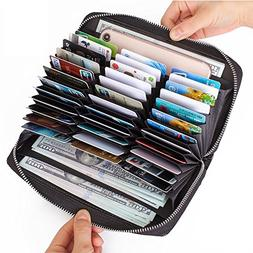 Buvelife Credit Card Wallet Leather RFID Wallet with Zipper