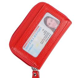Buvelife Credit Card Wallet Zipper Leather Wallet RFID Pocke