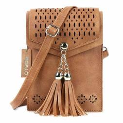 Women Small Crossbody Bag Tassel Cell Phone Purse Wallet Bag