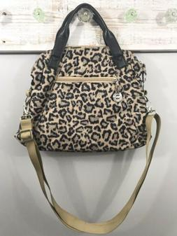 Travelon Crossbody Handbag Purse Leopard Pattern Black Tan N