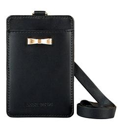 Indressme Cute Black 2-sided Vertical Genuine Leather ID Bad