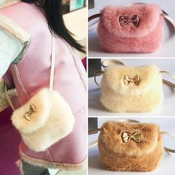 Cute Kids Children Girls Mini Bowknot Crossbody Bags Soft Fu
