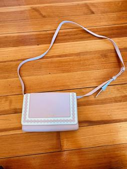designer analise pink and white leather crossbody
