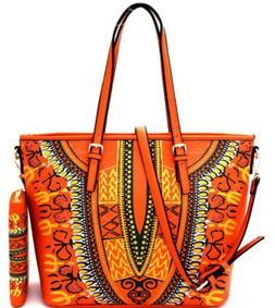 Designer Ethnic Tribal Print Satchel Handbag Tote Purse and