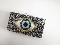 Devil Eyes Women Glitter Evening Bags Acrylic Box Clutch Han