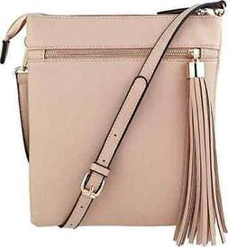 B Brentano Double-Zip Pocket Crossbody Handbag Purse w/ Big