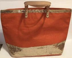 Elizabeth's Large Orange And Gold Tote Purse Bag Sequined