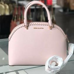 MICHAEL KORS EMMY DOME LG SATCHEL LEATHER SHOULDER BAG PINK