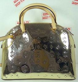 Michael Kors Emmy Large Dome Gold Leather Satchel Purse