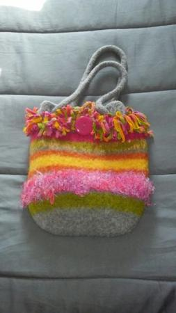 Fashion Purses Hand Knitted and Felted multi color bag