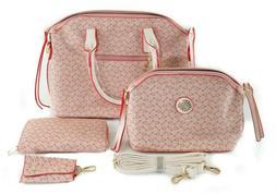 Fashionable Women's Bag Purse Handbag Set Pink Red & White,