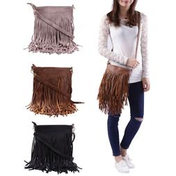 Faux Leather Fringe Shoulder Bag Crossbody Tassel Handbag Wo