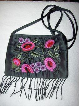 FRANKIE & JOHNNIE EMBROIDER AND BEADED  EVENING PURSE  NEW O