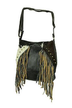 Genuine Leather and Hair-On Hide Fringed Studded Western Cro