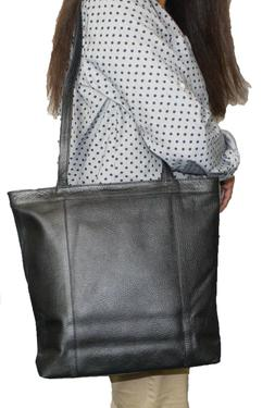 genuine leather black tote large women s
