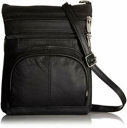 Genuine Leather Multi-Pocket Crossbody Purse Handbag w/ Orga