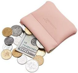 Travelambo Genuine Leather Squeeze Coin Purse Pouch Change H