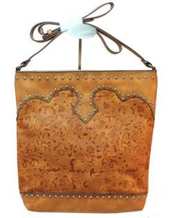 Genuine Leather Studded and Tooled Crossbody Purse Handbag B