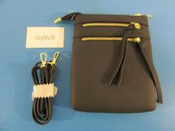 Bveyzi Genuine Leather Womens Black Multi Zipper Pocket Cros