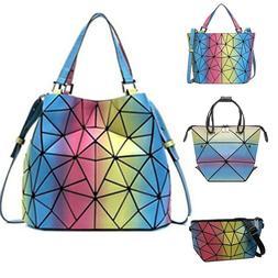 丿丿Geometric Luminous Backpack Holographic Crossbody Bag