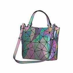 Geometric Luminous Holographic Purses and Handbags Top-Handl