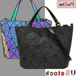 丿 丿Geometric Luminous Purses Handbags Women Holographic