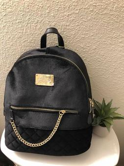 BeBe Gina Black Velvet Large Backpack Purse Bag Quilted Gold