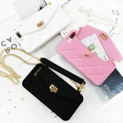 Girls' Bling Chain Purse Wallet Silicone Case Cover For iPho
