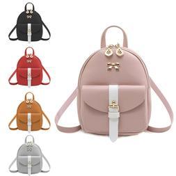 Girls Bowknot Cute Bag PU Leather Backpack Mini Backpack Pur
