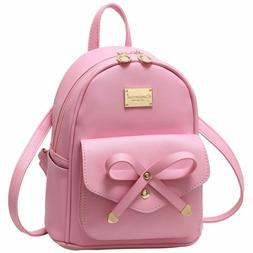 Girls Bowknot Cute Leather Backpack Mini Backpack Purse for