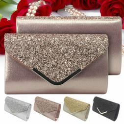 Glitter Women Formal Evening Clutch Purse Wedding Bridal Par