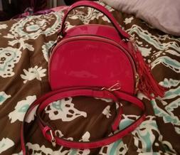 glossy red shoulder crossbody bag handbag purse