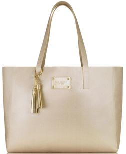 MICHAEL KORS gold metallic leather tote bag purse shopper sh