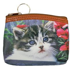 Grey Kitten and Flowers Print Coin Purse Pouch Little Small