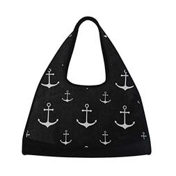 Gym Bag Cute White Anchor Black Women Yoga Canvas Duffel Bag