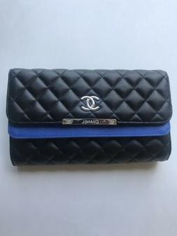 Handbag Clutch Purse Quilted Look Black And Blue With Chain