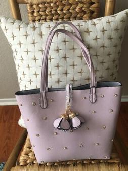 IMOSHION Handbag Purse Lilac Pink Large Rhinestone Studs Veg