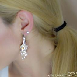 Handmade, Ivy Leaf Drop - Stud Earrings,with Semi Precious S