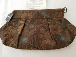 Maruca Handmade Clutch Purse Priss Brown Blue Flowers New NW