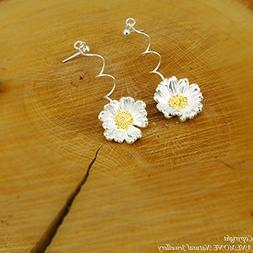 Handmade,Daisy Flower,Drop - Stud Earrings,Greek Nature Insp