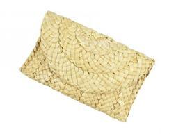 Handmade Straw Clutch Handbag Dreubea Fashion Woven Purse Ev