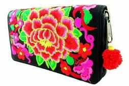 Hmong Fabric Women's Wallet Clutch Purse Embroidered Compact