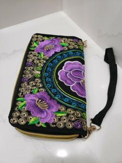 Hmong Fabric Women's Wallet Purse Embroidered Compact Zip