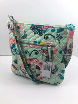 Vera Bradley Iconic Hipster Mint Flowers Green Crossbody Pur
